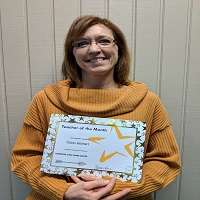 Congratulations to our teacher of the month- Our counselor, Mrs. Wilkins