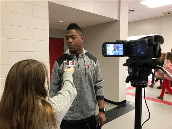 THS TV interviews Patriots player Brandon King during his visit to THS