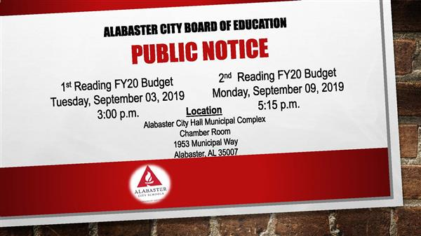 Public Notice - 1st Reading FY20 Budget