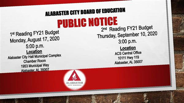 Public Notice - 1st Reading FY21 Budget