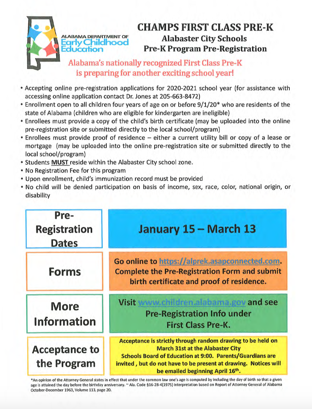 Pre-K Pre-Registration Forms for 2020-2021