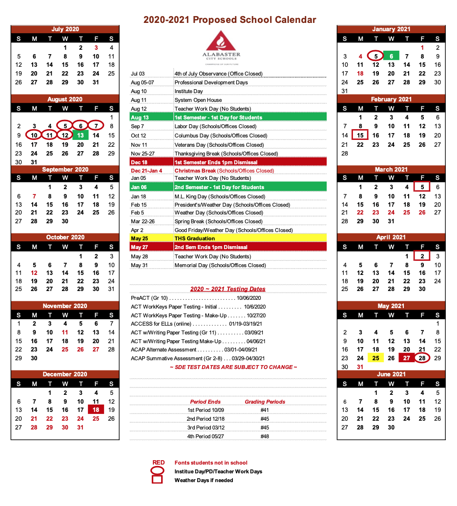 ACS 2020-2021 Proposed School Year Calendar