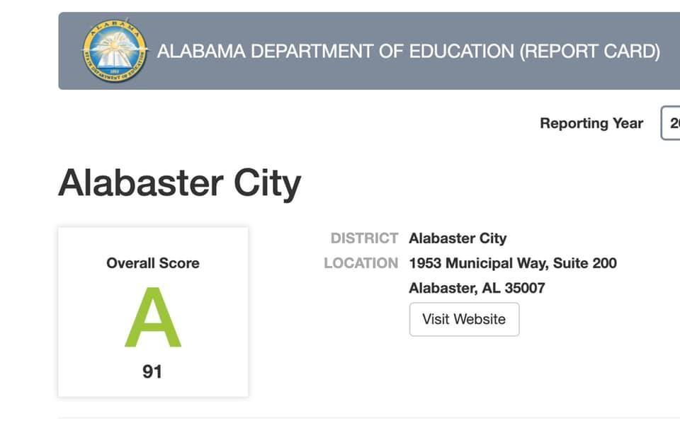 Alabaster City Schools Makes an A!
