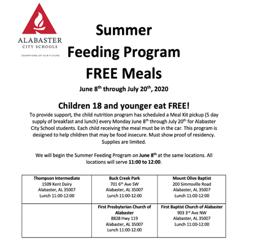 Summer Feeding Program Schedule